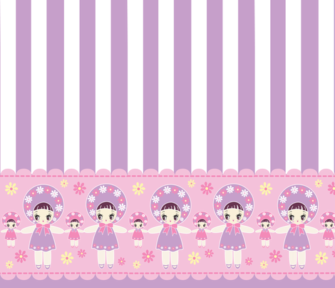 19 inch Bunka Doll panel purple fabric by pinkmacaroon on Spoonflower - custom fabric