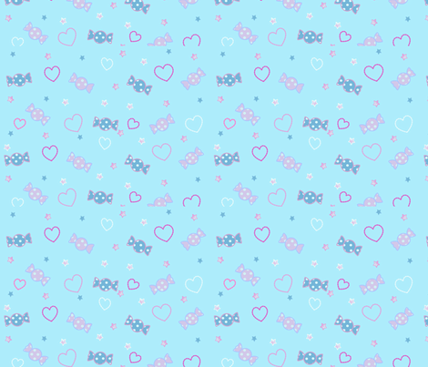 Baby Blue Unicorn Fantasy Candy Repeat fabric by pinkmacaroon on Spoonflower - custom fabric