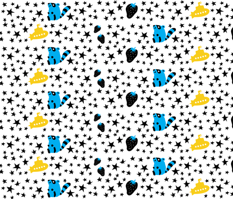 Racoons Love Submarines fabric by robyriker on Spoonflower - custom fabric
