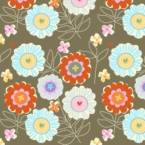 "ZINNIA GARDEN in ""OTTER"" fabric by trcreative on Spoonflower - custom fabric"