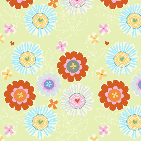 "ZINNIA GARDEN in ""LIMA"" fabric by trcreative on Spoonflower - custom fabric"