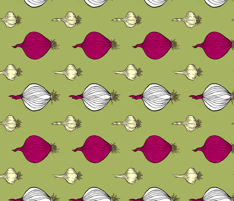onions & garlic, green fabric by katherinecodega on Spoonflower - custom fabric