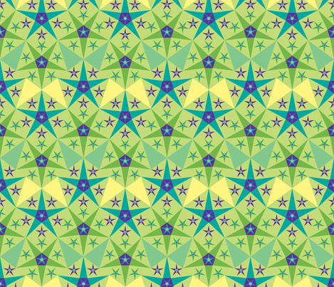 green_purple_star fabric by janiris on Spoonflower - custom fabric