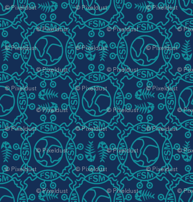 Flying spaghetti monster blue fabric pixeldust for Monster themed fabric