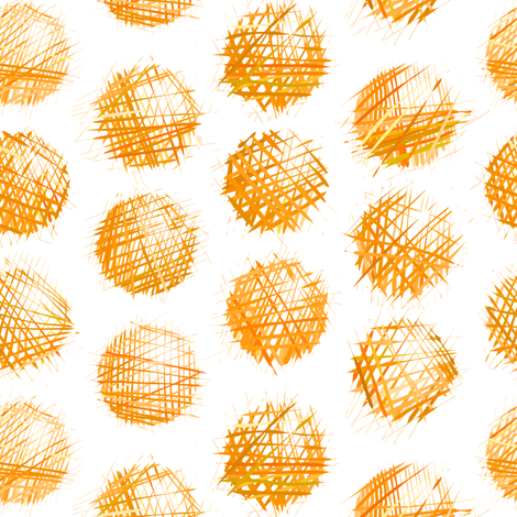 sketchy dots - orange on white fabric by ravynka on Spoonflower - custom fabric