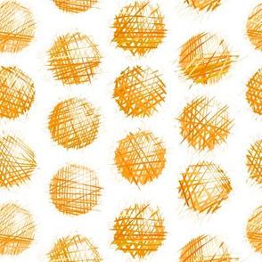 sketchy dots - orange on white