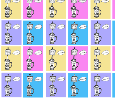 The French Press-bot fabric by taraput on Spoonflower - custom fabric