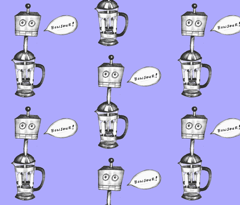 Robot French Press fabric by taraput on Spoonflower - custom fabric