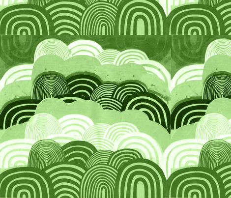 marshmallow_hills_small_green fabric by lonielovesyou on Spoonflower - custom fabric