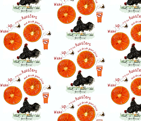 2_Roosters_juice fabric by paragonstudios on Spoonflower - custom fabric