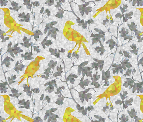 ivy_with_bird fabric by kimkim on Spoonflower - custom fabric