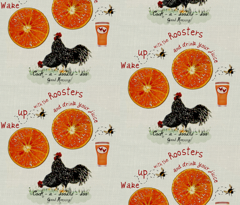 2_Roosters_juice on linen fabric by paragonstudios on Spoonflower - custom fabric