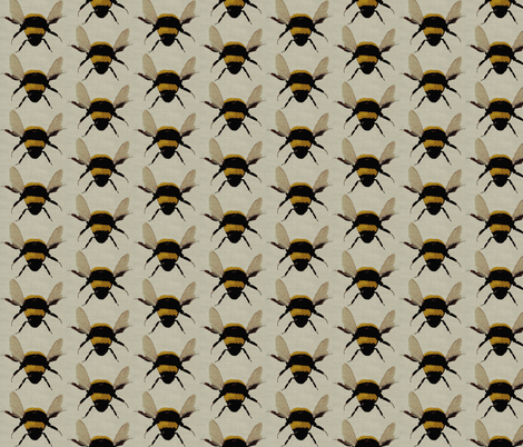 bees on linen fabric by paragonstudios on Spoonflower - custom fabric