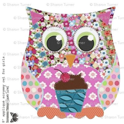 "8"" applique scrummy owl for girls"