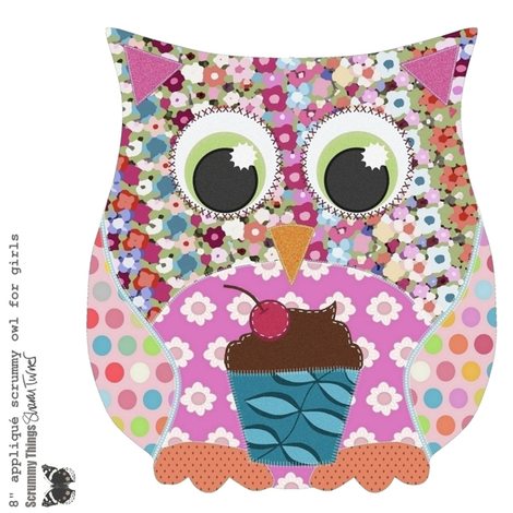"8"" appliqué scrummy owl for girls fabric by scrummy on Spoonflower - custom fabric"