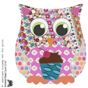 "8"" applique scrummy owl for girls"