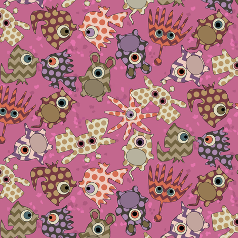 sea monster love pink fabric by scrummy on Spoonflower - custom fabric
