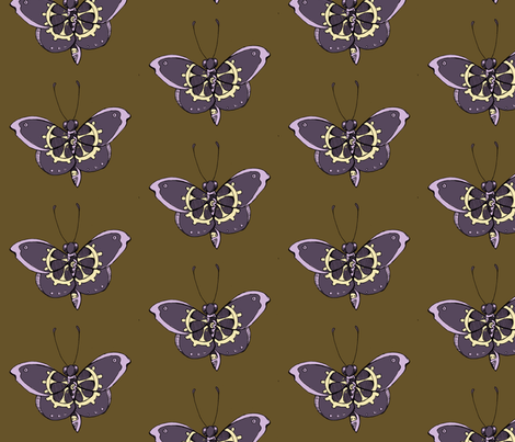 Clockwork Butterfly, Purple fabric by lilmissmaya on Spoonflower - custom fabric