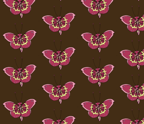 Clockwork Butterfly, Pink fabric by lilmissmaya on Spoonflower - custom fabric