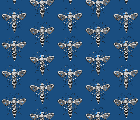 Gear Bee, Blue fabric by lilmissmaya on Spoonflower - custom fabric