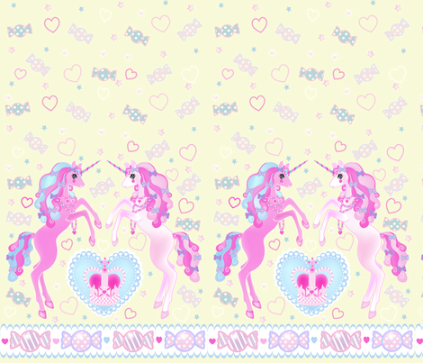 24 inch long Unicorn Fantasy Light Yellow Print fabric by pinkmacaroon on Spoonflower - custom fabric