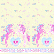 24 inch long Unicorn Fantasy Light Yellow Print