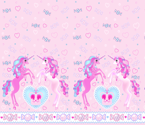 24 inch long Unicorn Fantasy Baby Pink Print fabric by pinkmacaroon on Spoonflower - custom fabric
