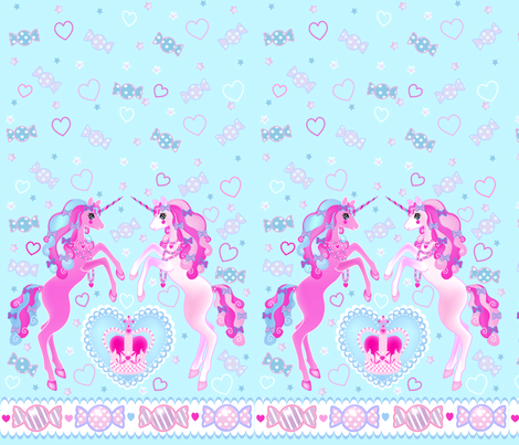 24 inch long Unicorn Fantasy Baby Blue Print fabric by pinkmacaroon on Spoonflower - custom fabric