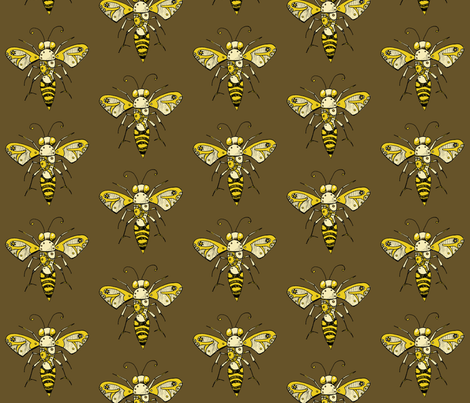 Clockwork Bee, Brown fabric by lilmissmaya on Spoonflower - custom fabric