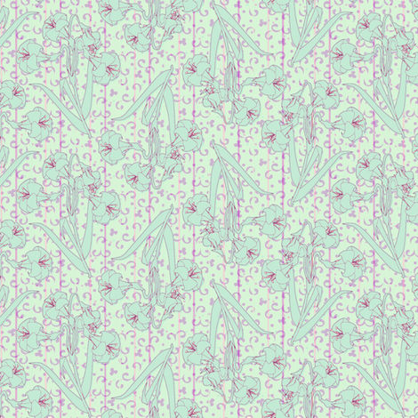 ©2011 teal lily fabric by glimmericks on Spoonflower - custom fabric