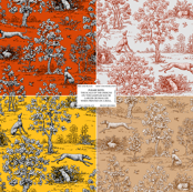 Greyhound toile sampler #1--WALLPAPER SWATCH ONLY ©2011 by Jane Walker