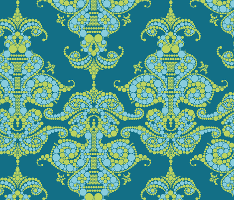 Putting a point on it - Turquoise and Lime fabric by thirdhalfstudios on Spoonflower - custom fabric