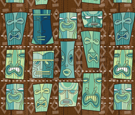 tiki freaks custom size for mjc fabric by cynthiafrenette on Spoonflower - custom fabric