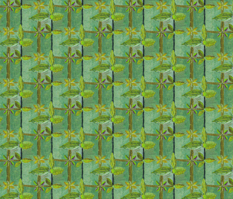 Floral Lattice Garden Gleaming with Spring Morning Dew fabric by rhondadesigns on Spoonflower - custom fabric