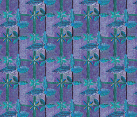 Floral Lattice  in a Wintry Moonlit Garden. fabric by rhondadesigns on Spoonflower - custom fabric