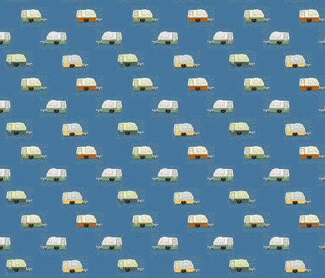 "HAPPY CAMPERS in ""AZURE"" fabric by trcreative on Spoonflower - custom fabric"