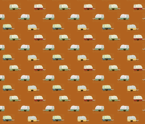 "HAPPY CAMPERS in ""RUSTY"" fabric by trcreative on Spoonflower - custom fabric"