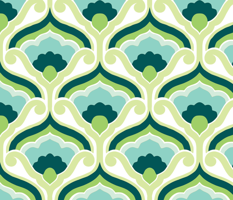 Retro fan green fabric by myracle on Spoonflower - custom fabric
