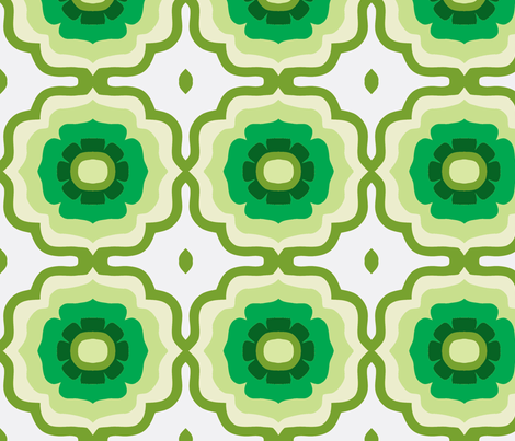 Flowertile layered green fabric by myracle on Spoonflower - custom fabric