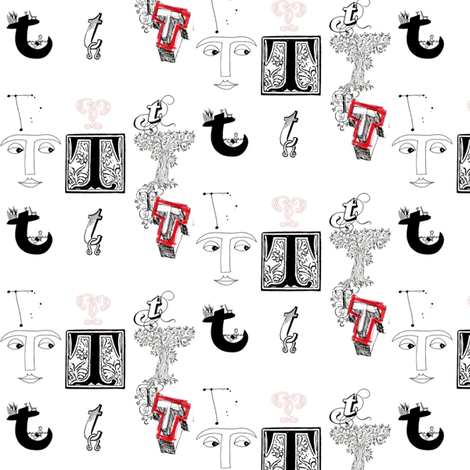 Letter T fabric by bfabric on Spoonflower - custom fabric