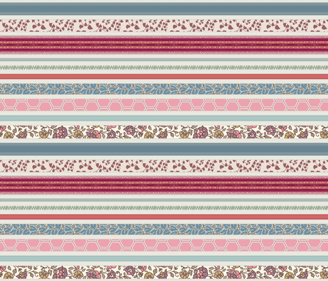 romantic ribbon stripe fabric by littlerhodydesign on Spoonflower - custom fabric