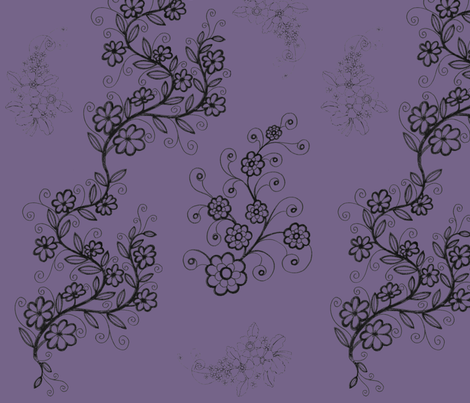 Vining Flowers; purple/lavender fabric by rengal on Spoonflower - custom fabric