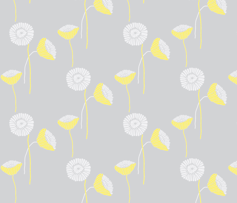 "POPPY in  ""LEMONADE & MIST"" fabric by trcreative on Spoonflower - custom fabric"