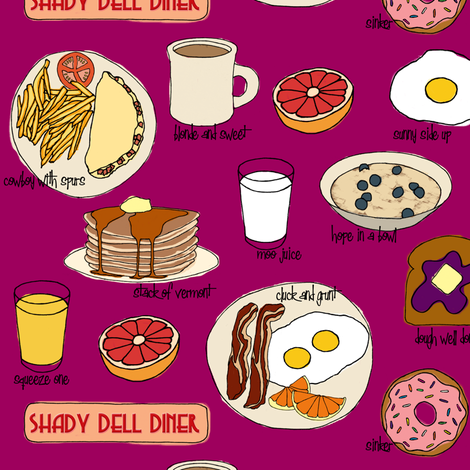 Breakfast @ Shady Dell (purple) fabric by jaydesign on Spoonflower - custom fabric