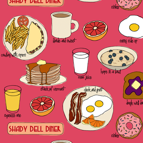 Breakfast @ Shady Dell (pink) fabric by jaydesign on Spoonflower - custom fabric