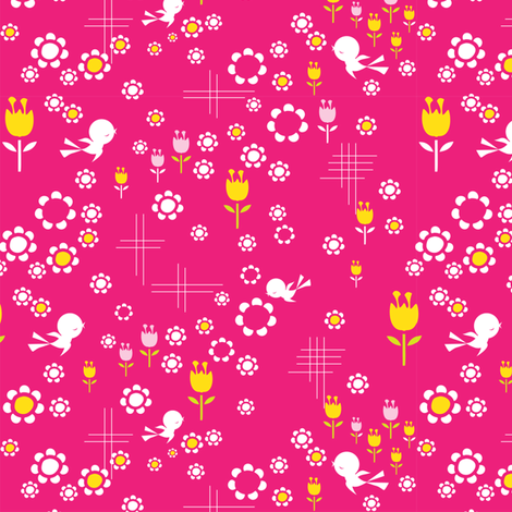 Russian pinkbirds fabric by teamkitten on Spoonflower - custom fabric