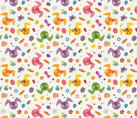 Easter bunny pattern fabric by utehil on Spoonflower - custom fabric