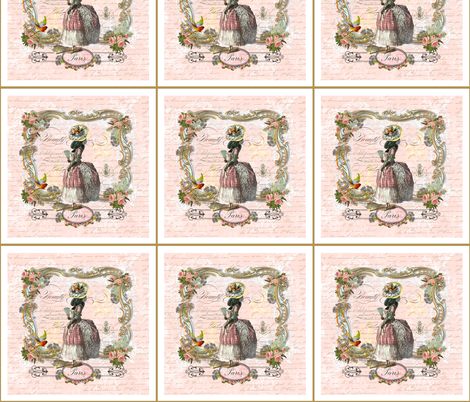 "Black Poodle Dog ""Marie Antoinette"" fabric by greerdesign on Spoonflower - custom fabric"