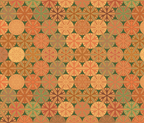 Citrus Slices Geometic on Green large  fabric by gingezel on Spoonflower - custom fabric