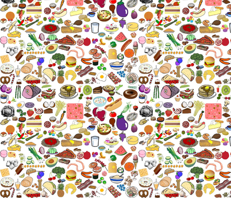 Scattered food clip art fabric by eve_s on Spoonflower - custom fabric